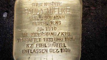 Der Stolperstein von Paula Mielke.
