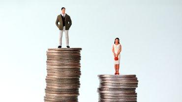 Mann und Frau auf unterschiedlich hohen Geldstapeln