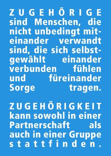 Karte Zugehörigkeit Text weiß auf blau