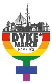 Dyke*March Logo mit Hamburg Skyline